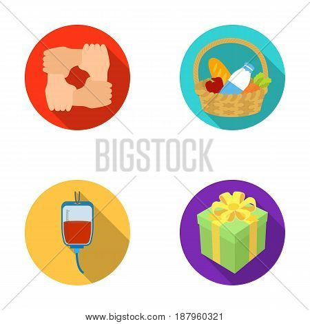 Gesture of the hands in support, a basket with food for charity, donor blood, a gift donation box. Charity and donation set collection icons in flat style vector symbol stock illustration .