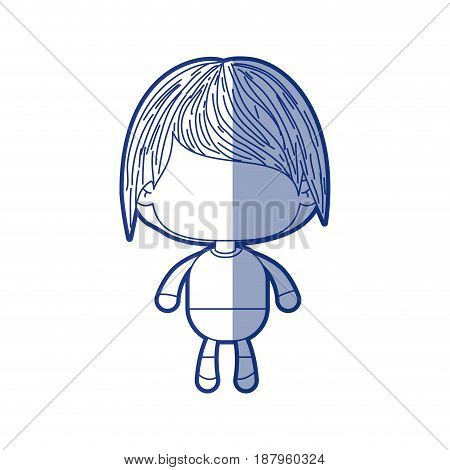blue shading silhouette of faceless little boy with short wavy hair vector illustration
