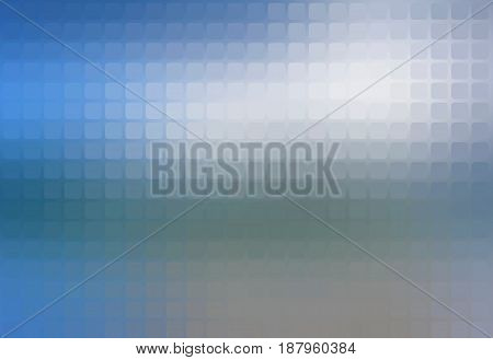 White blue shades vector abstract rounded corners square tiles mosaic over blurred background