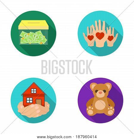 Boxing glass with donations, hands with hearts, house in hands, teddy bear for charity. Charity and donation set collection icons in flat style vector symbol stock illustration .