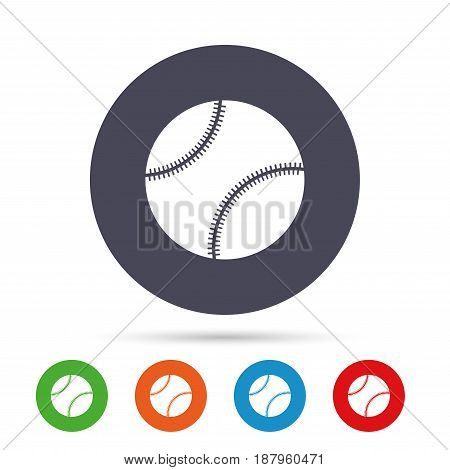 Baseball ball sign icon. Sport symbol. Round colourful buttons with flat icons. Vector