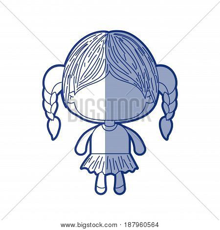 blue shading silhouette of faceless little girl with braided hair vector illustration