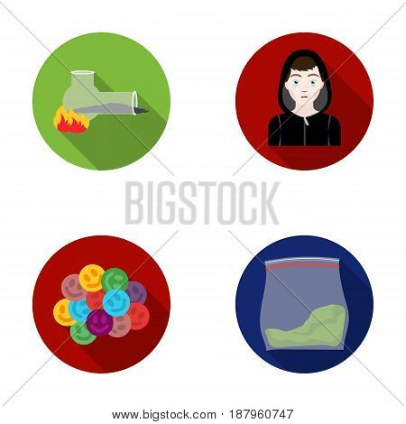 Vong, drug addict, package with marijuana, ecstasy. Drugs set collection icons in flat style vector symbol stock illustration .