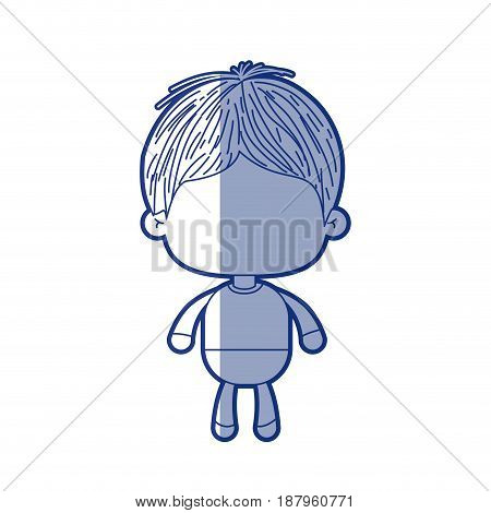 blue shading silhouette of faceless little boy with short hair vector illustration