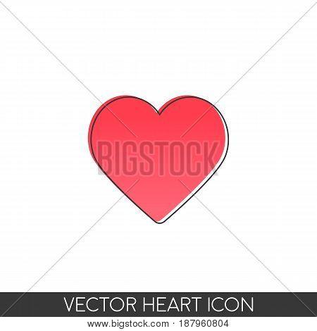 Logo heart. Simple design. In retro poster design style.