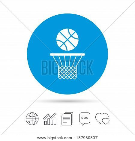 Basketball basket and ball sign icon. Sport symbol. Copy files, chat speech bubble and chart web icons. Vector