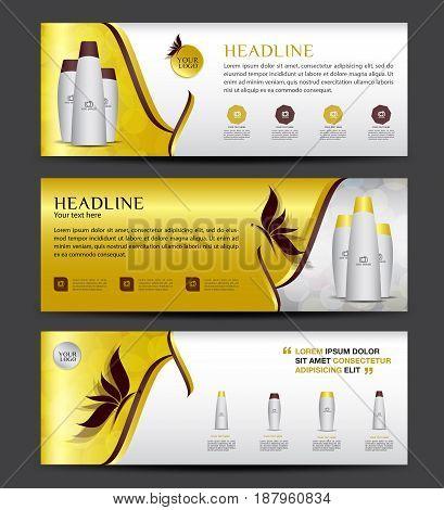 Cosmetics Banner designTemplate vector horizontal banner Gold banner brochure flyer design advertisement layout