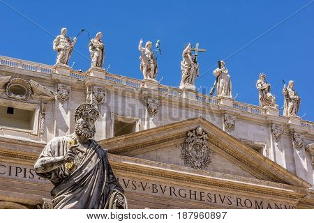 St. Peter with the key in his hand in front of St. Peters church Rome Italy - May 2 2017