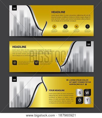Gold Banner Template vector horizontal banner brochure flyer design advertisement layout header