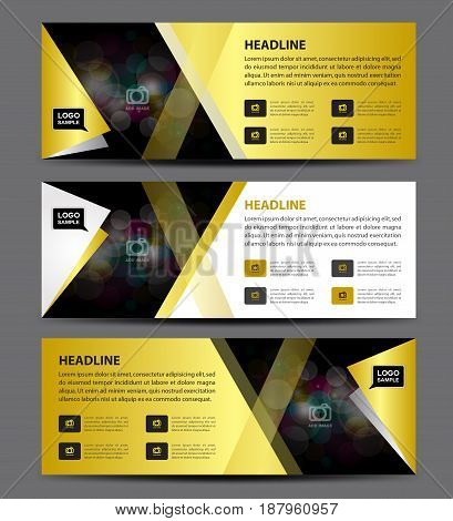 Gold Banner Template vector horizontal banneradvertising display layout flyer design presentation