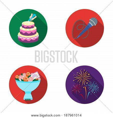 Hand making a cake with cream, a microphone with a cord, a bouquet of roses with a greeting card, a festive salute. Event services set collection icons in flat style vector symbol stock illustration .