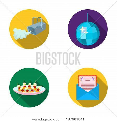 A video camera with smoke, a twirling holiday ball, a plate of sandwiches, an envelope with a greeting card. Event services set collection icons in flat style vector symbol stock illustration .