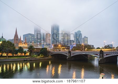 Melbourne Cityscape On Foggy Morning
