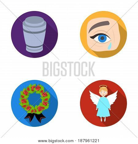 The urn with the ashes of the deceased, the tears of sorrow for the deceased at the funeral, the mourning wreath, the angel of death. Funeral ceremony set collection icons in flat style vector symbol stock illustration .