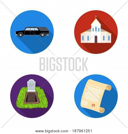 Black cadillac to transport the grave of the deceased, a church for a funeral ceremony, a grave with a tombstone, a death certificate. Funeral ceremony set collection icons in flat style vector symbol stock illustration .