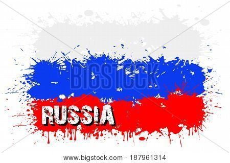 Flag Of Russia From Blots Of Paint