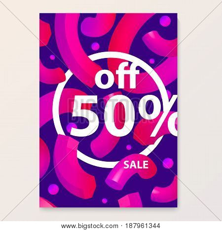 Bright poster for your sales discounts and promotions. Modern style. Used to sell banners flyers price tags for outdoor printing mobile teasers and e-commerce. 3d shapes in the style of dynamic design