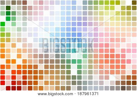 Rainbow colors occasional opacity vector square tiles mosaic over white background