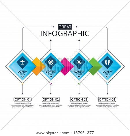 Infographic flowchart template. Business diagram with options. Beach holidays icons. Ball, umbrella and flip-flops sandals signs. Summer sun symbol. Timeline steps. Vector