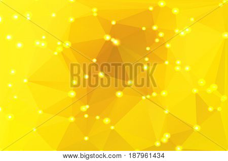 Bright golden yellow abstract low poly geometric background with defocused lights