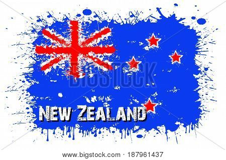 Flag Of New Zeland From Blots Of Paint