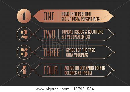 Set of infographic design, vintage arrows, numbers and text for industrial design, navigation sign in market place, bank, hotel. Business concept elements in retro style. Vector Illustration