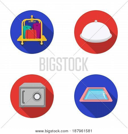 Trolley with luggage, safe, swimming pool, clutch.Hotel set collection icons in flat style vector symbol stock illustration .