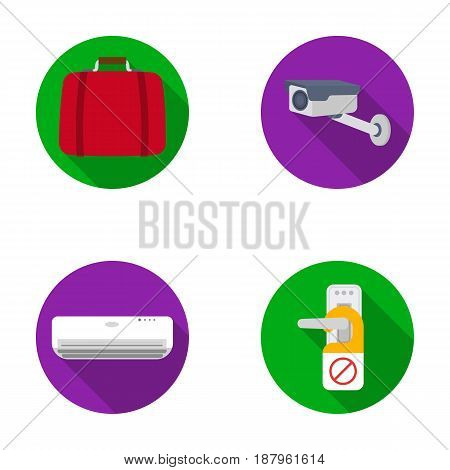 Luggage, surveillance camera, air conditioning, do not disturb the sign.Hotel set collection icons in flat style vector symbol stock illustration .