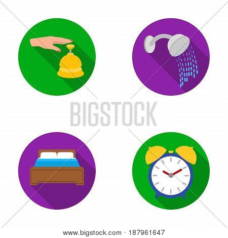 Call at the reception, alarm clock, bed, shower.Hotel set collection icons in flat style vector symbol stock illustration .