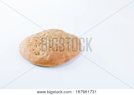 Focaccia Italian Flat Bread With Rosemary On The Top Isolated In White Background