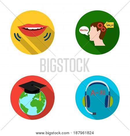 The mouth of the person speaking, the person's head translating the text, the globe with the master's cap, the headphones with the translation. Interpreter and translator set collection icons in flat style vector symbol stock illustration .