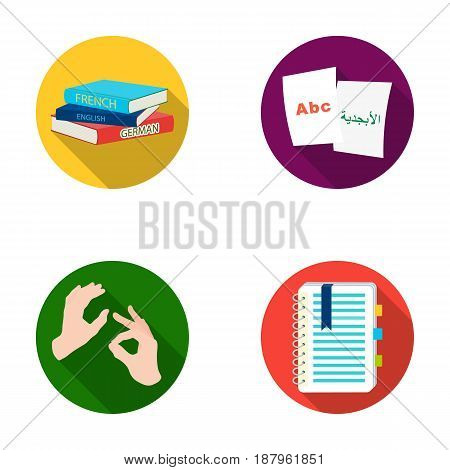 A pile of books in different languages, sheets of paper with translation, a gesture of deaf mutes, a notebook with text. Interpreter and translator set collection icons in flat style vector symbol stock illustration .
