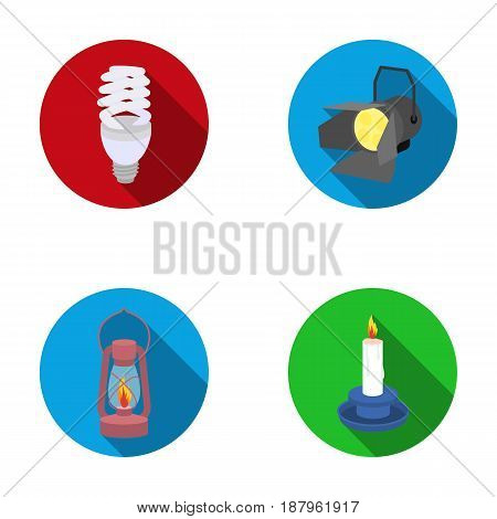 Economy lamp, searchlight, kerosene lamp, candle.Light source set collection icons in flat style vector symbol stock illustration .