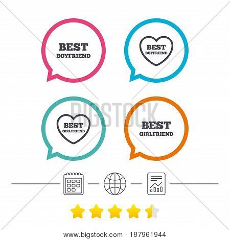 Best boyfriend and girlfriend icons. Heart love signs. Award symbol. Calendar, internet globe and report linear icons. Star vote ranking. Vector