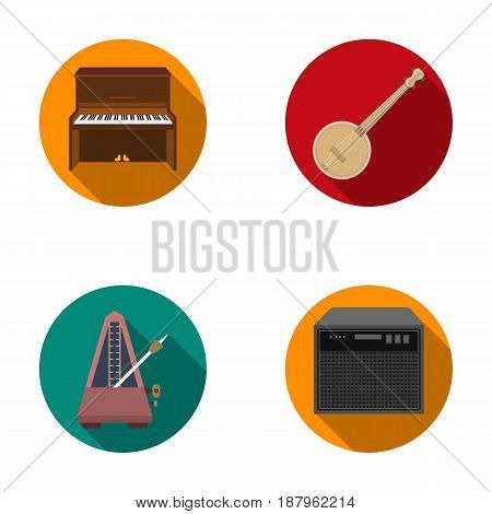 Banjo, piano, loudspeaker, metronome. Musical instruments set collection icons in flat style vector symbol stock illustration .