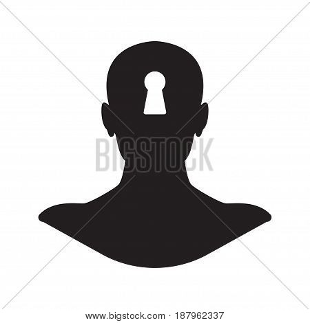 Key hole human head silhouette vector flat design