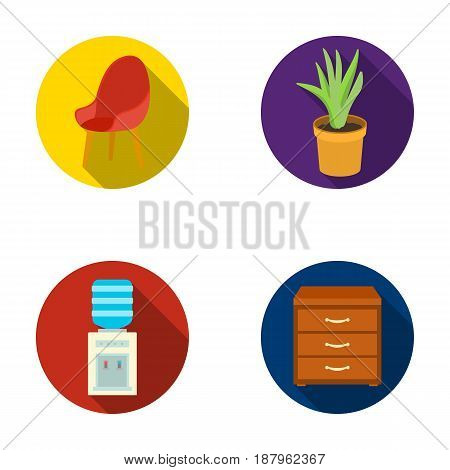 A red chair with a comfortable back, an aloe flower in a pot, an apparatus with clean water, a cabinet for office papers. Office Furniture set collection icons in flat style vector symbol stock illustration .