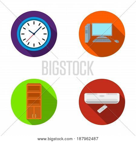 Clock with arrows, a computer with accessories for work in the office, a cabinet for storing business papers, air conditioning with remote control. Office Furniture set collection icons in flat style vector symbol stock illustration .