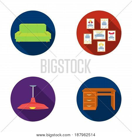 Comfortable sofa, letters and diplomas within the framework, an office ceiling lamp, a desk with drawers. Office Furniture set collection icons in flat style vector symbol stock illustration .