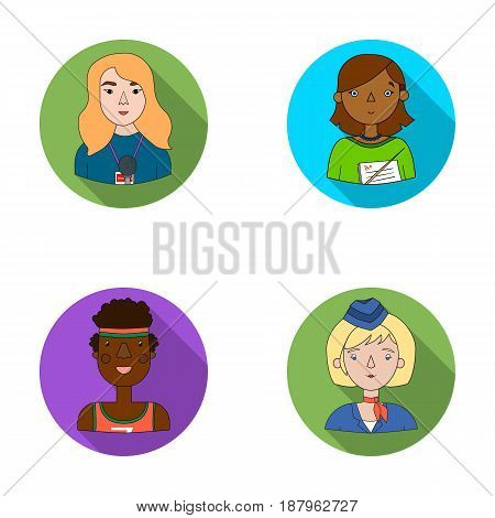 A journalist with a microphone with a badge, a teacher with a pointer in beads, a stewardess in a pilot's cap, an athlete with a bandage on her head.People of different professions set collection icons in flat style vector symbol stock illustration .