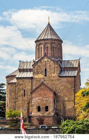 View Metekhi Church In The Morning Above The Kura River In Tbilisi, Georgia