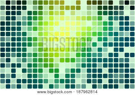 Bright yellow green occasional opacity vector square tiles mosaic over white background