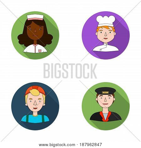 A nurse in a dressing gown, a cook in a hood, a builder in a helmet, a taxi driver in a cap. People of different professions set collection icons in flat style vector symbol stock illustration .