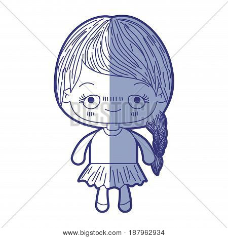 blue shading silhouette of kawaii cute little girl with braided hair and embarrassed facial expression vector illustration