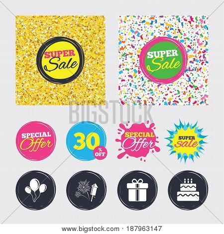 Gold glitter and confetti backgrounds. Covers, posters and flyers design. Birthday party icons. Cake and gift box signs. Air balloons and fireworks symbol. Sale banners. Special offer splash. Vector