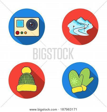 Mittens, warm hat, ski piste, motion camera. Ski resort set collection icons in flat style vector symbol stock illustration .