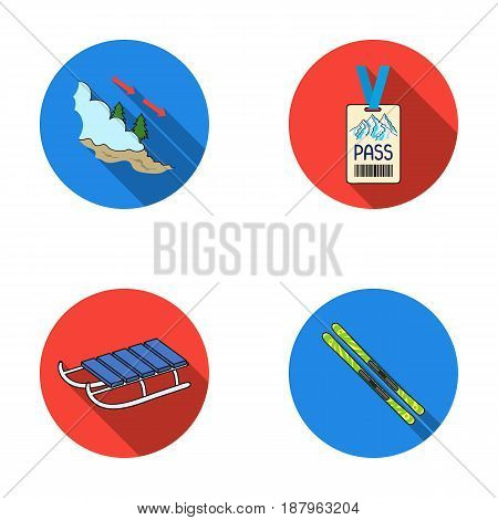 Ski, sled, lifeguard badge, badge avalanche. Ski resort set collection icons in flat style vector symbol stock illustration .