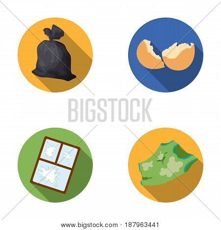 A garbage bag, a broken egg shell, a torn dirty T-shirt, a broken window frame with glass.Garbage and trash set collection icons in flat style vector symbol stock illustration .