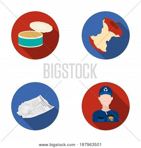 Can used used pot, apple stub, old dirty and wrinkled newspaper, the man who takes out the garbage.Garbage and trash set collection icons in flat style vector symbol stock illustration .