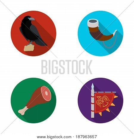 Sitting crow, horn with drink, ham, victory flag. Vikings set collection icons in flat style vector symbol stock illustration .